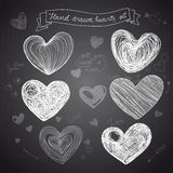 Set of Hand drawn vector hearts Stock Image