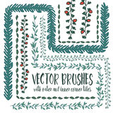 Set of hand drawn vector pattern brushes Royalty Free Stock Images