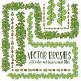 Set of hand drawn vector pattern brushes. With inner and outer corner tiles. Colored green branches of cactus opuntia ficus-indica with orange fruit. Perfect Royalty Free Stock Photos