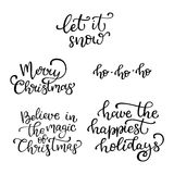 Set of hand drawn vector quotes. Merry Christmas .Let it snow. Royalty Free Stock Photo