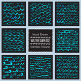 Set of hand drawn vector textures of water surface. Collection of Hand Drawn Vector Textures of Water Surface. Ready to use seamless pattern included. Perfect stock illustration