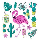 Set of hand drawn vector tropical elements with flamingo, exotic leaves. stock illustration