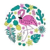 Set of hand drawn vector tropical elements with flamingo, exotic leaves. Circle composition stock illustration