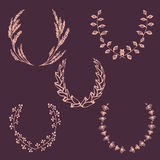 Set of  hand-drawn vector wreaths. Set of  hand-drawn doodle wreaths. Illustration for your design.For Save the date, wedding, birthday and other invitations Stock Photos