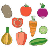 Set of hand drawn vegetables, potatoes, cucumber, tomato, carrot Royalty Free Stock Image