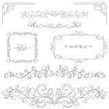Set of hand-drawn vignettes, flourishes, corners, text dividers Stock Photos