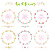 Set of hand drawn vintage Frame flowers royalty free stock photos