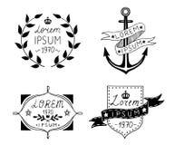 Set of hand drawn vintage labels. Vector illustration. Stock Photos