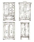 Set of hand drawn wardrobes. Interior elements. Ve Royalty Free Stock Photos