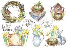 Set Hand drawn watercolor art eggs with Spring flowers. Isolated illustration on white background. Lettering - Happy. Easter stock illustration