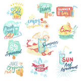 Set of hand drawn watercolor badges and stickers  of seafood Stock Photo