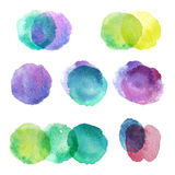 Set of hand drawn watercolor blots. Hand drawn watercolor blots good for your design, logo, label, print, card, banner. Elements for your design Royalty Free Stock Photos