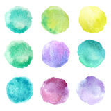 Set of hand drawn watercolor blots. Hand drawn watercolor blots good for your design, logo, label, print, card, banner. Elements for your design Stock Image