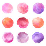 Set of hand drawn watercolor blots. Hand drawn watercolor blots good for your design, logo, label, print, card, banner. Elements for your design Stock Images