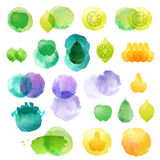 Set of hand drawn watercolor blots. Hand drawn watercolor blots good for your design, logo, label, print, card, banner. Elements for your design Stock Photos