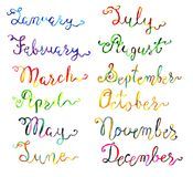 Set with hand drawn watercolor calligraphic lettering of 12 months isolated on white. Calendar concept with twelve months hand writing lettering Stock Photography