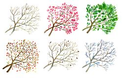 Set with hand drawn watercolor calligraphic lettering of 12 months isolated on whiteCollection with trees in different seasons - w Stock Photo