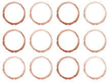 Set of Hand drawn watercolor circle frames. Stock Images
