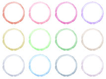 Set of Hand drawn watercolor circle frames. Stock Photos