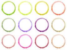 Set of Hand drawn watercolor circle frames. Royalty Free Stock Image