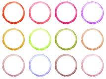 Set of Hand drawn watercolor circle frames. Stock Photography