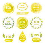 Set of hand drawn watercolor eco labels Stock Image
