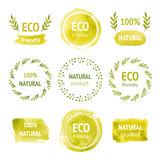Set of hand drawn watercolor eco labels Royalty Free Stock Images