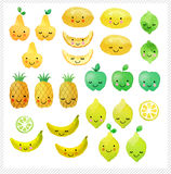Set of hand drawn watercolor fruits. Set of cute fruits  on white background. Design for kids Royalty Free Stock Image