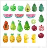 Set of hand drawn watercolor fruits Stock Photo