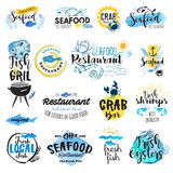 Set of hand drawn watercolor labels and badges of seafood Stock Photo