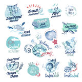 Set of hand drawn watercolor labels and badges of seafood Royalty Free Stock Image