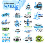 Set of hand drawn watercolor labels and badges of water vector illustration