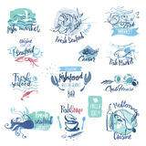 Set of hand drawn watercolor labels and elements of seafood Royalty Free Stock Photos