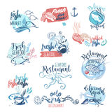 Set of hand drawn watercolor labels and signs of seafood Stock Photo