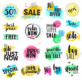 Set of hand drawn watercolor labels and stickers for sale Stock Images