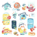 Set of hand drawn watercolor labels and stickers of seafood vector illustration