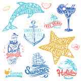 Set of hand drawn watercolor ribbons and stickers of summer. Vector illustrations for summer holiday