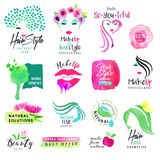Set of hand drawn watercolor signs for beauty and cosmetics. Vector illustrations for graphic and web design, for cosmetic products, natural products, hair Royalty Free Stock Image