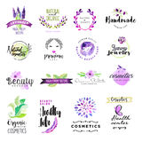 Set of hand drawn watercolor signs for beauty and cosmetics. Vector illustrations for graphic and web design, for natural and organic products, healthy life Royalty Free Stock Images