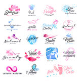 Set of hand drawn watercolor signs for beauty, healthy life and wellness Royalty Free Stock Images