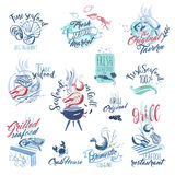 Set of hand drawn watercolor signs and stickers of seafood Royalty Free Stock Photos