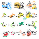 Set of hand drawn watercolor signs of summer drinks, fruit juices and smoothies, cocktails Stock Photography