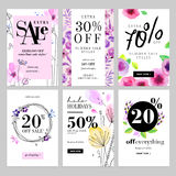 Set of hand drawn watercolor social media sale banner templates Stock Photography
