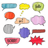 Set of hand drawn watercolor speech bubbles. Stock Photo