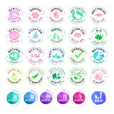 Set of hand drawn watercolor stickers for cosmetics Royalty Free Stock Photo