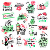 Set of hand drawn watercolor summer badges and elements Stock Image