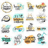 Set of hand drawn watercolor summer signs and banners Stock Photography