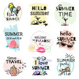 Set of hand drawn watercolor summer signs. And banners. Vector illustrations for summer holiday, travel agency, restaurant and bar, menu, sea and sun, beach Royalty Free Stock Photo