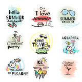 Set of hand drawn watercolor summer signs. And banners. Vector illustrations for summer holiday, travel agency, restaurant and bar, menu, sea and sun, beach Royalty Free Stock Images
