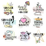 Set of hand drawn watercolor summer signs. And banners. Vector illustrations for summer holiday, travel agency, restaurant and bar, menu, sea and sun, beach Stock Images